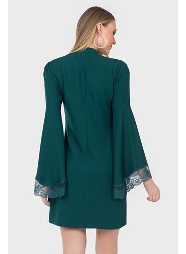 İroni İspanyol Kol Dantel Detaylı Elbise Yeşil